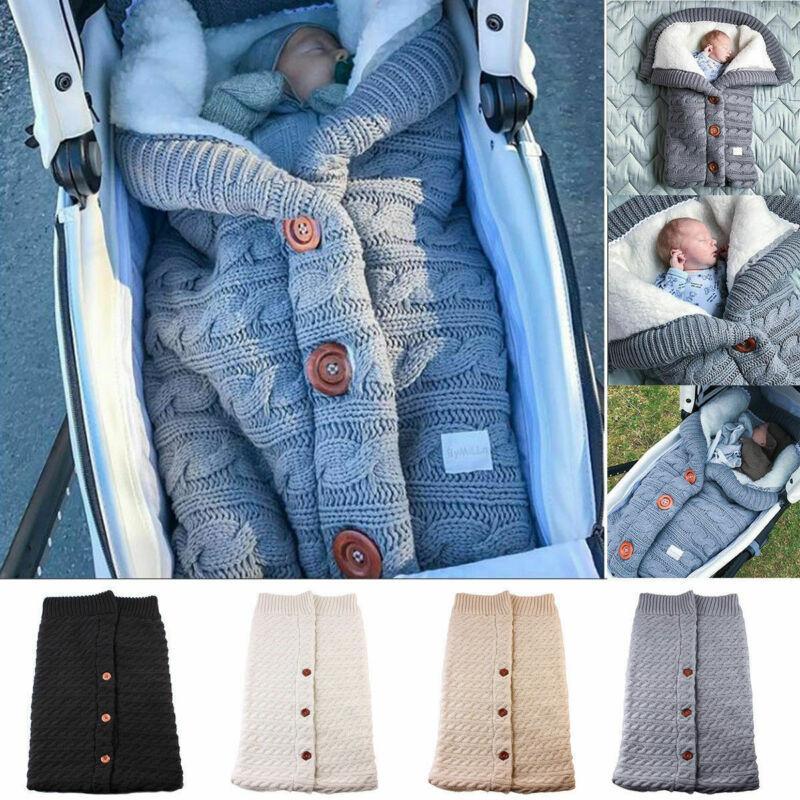 Bebê Sacos de Dormir Inverno Botão Quente Knit gavetas Enrole gavetas Stroller Enrole criança Blanket Sacos de Dormir