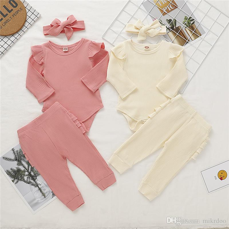 Mikrdoo Newborn Toddler Baby Girl Cotton Solid Color Clothes Set Long Sleeve Romper Top + Pant with Headband Cute 3PCS Outfit