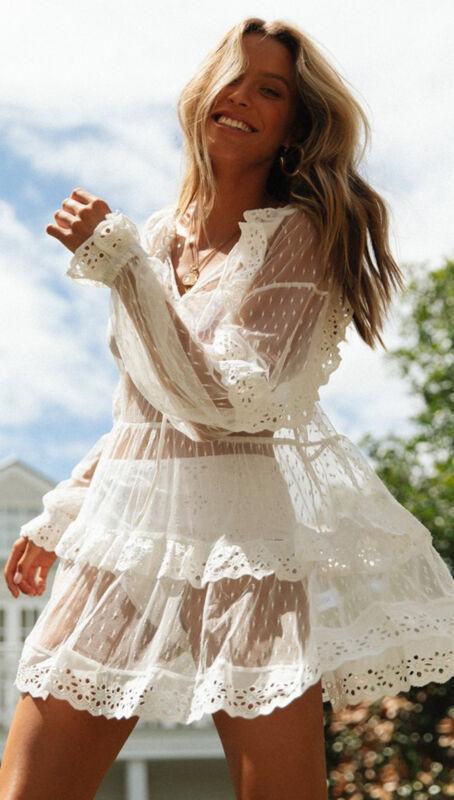 Womens Beach Wear Bikini Cover Up Beachwear Swimwear Kaftan Lady Summer Dress Clear White Long Sleeve Lace Straight Loose Dress