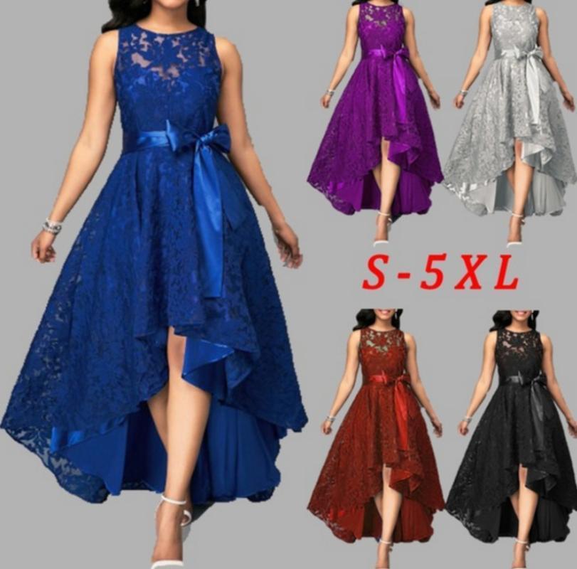 5 couleurs plus Taille 5XL femmes dentelle robe de soirée Joineles Haut Bas irrégulière femmes robe col rond manches Ceintures Parti Vestidos