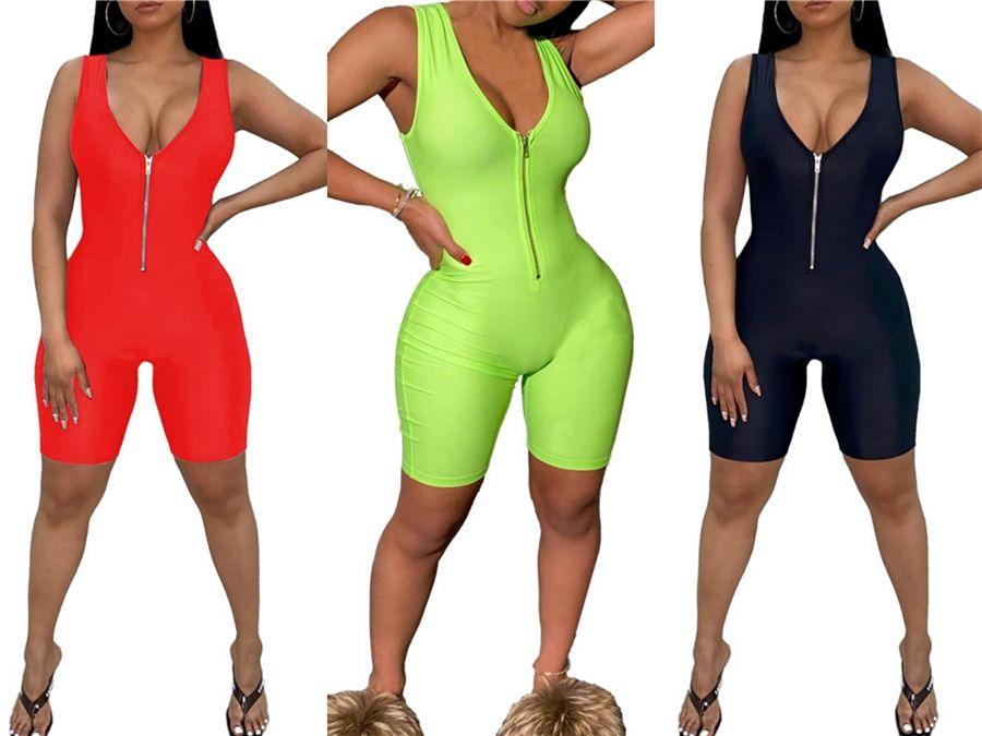 2020 Macacão Sexy Summer Macacões meia manga Off Shouuld sólidos macacãozinho mulheres Macacões Bodycon elegante Bodysuit Y200106 # 75359