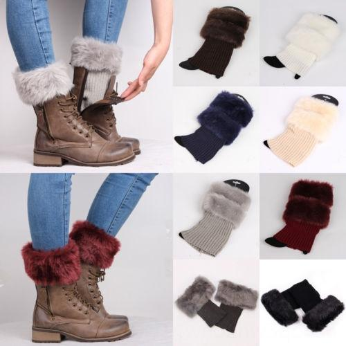 Women Winter Ankle Leg Warmers Crochet Knitted Fur Trim Boot Women's Underwear Underwear Toppers Cuffs Socks Women Winter Ankle Leg Warmers