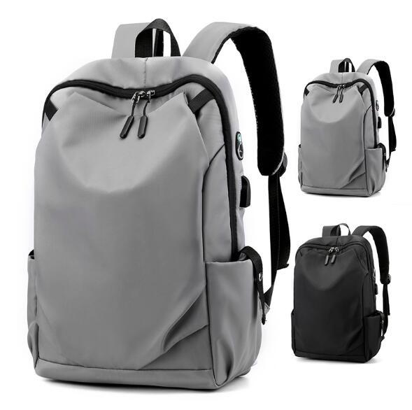 Mochilas de viagem 2,020 Man Backpack Plain Nylon Grande Capacidade Travel Bag Unisex Schoolbag USB Outdoor