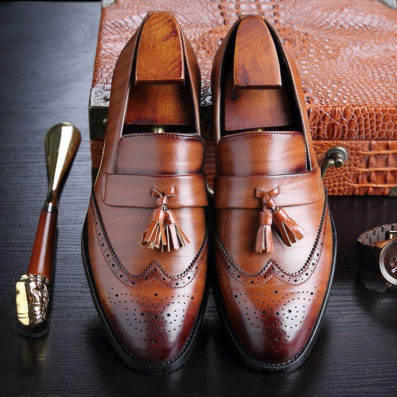Grande taille 37-48 Hommes cuir Mocassins Marque Chaussures Classique Tassel Chaussures Brogue Mans Chaussures formelles Chaussures Casual Bullock AA-109 CJ191205