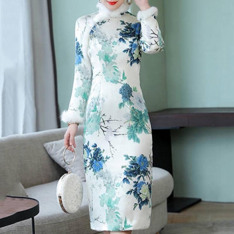 الصينية نمط شيونغسام اللباس المرأة زهرة طباعة فضفاض الجانبية سبليت فساتين خريف وشتاء طويل كم فستان طويل منتصف