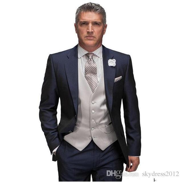 Hot Sale Plano Cotton Costume Novo Design smoking Últimas Brasão Pant casamento terno ternos Homem Noivo Homens (+ calças jaqueta + colete)