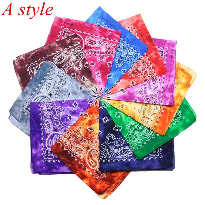 S-TROUBLE 55x55cm Unisex Cycling Outdoor Square Bandanas Tie-Dye Gradient Colorful Hip-Hop Neckerchief Retro Paisley Floral Print Headwrap