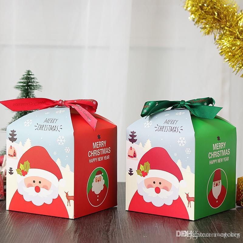 DIY caja de regalo de Navidad de ping un embalaje de frutas de vacaciones caja de dulces de chocolate caja de papel de regalo exquisita fuentes de la Navidad