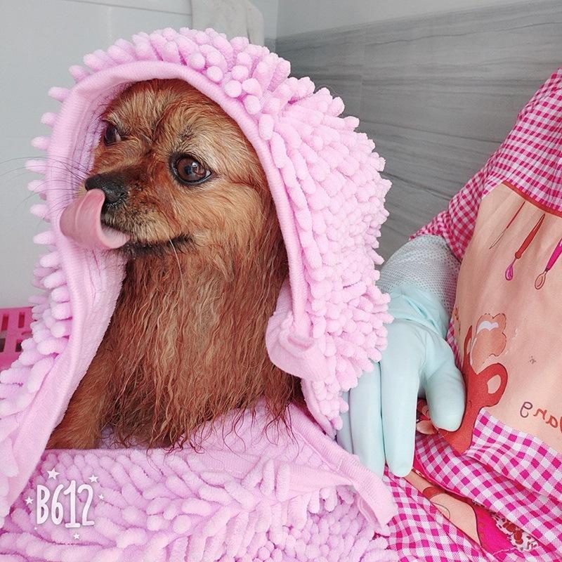 Toalha Dog Pet Secagem Rápida Microfiber Chenille gato Puggy toalhas de banho para animais Clean Up Fontes Super absorvente cor sólida 22hg E1