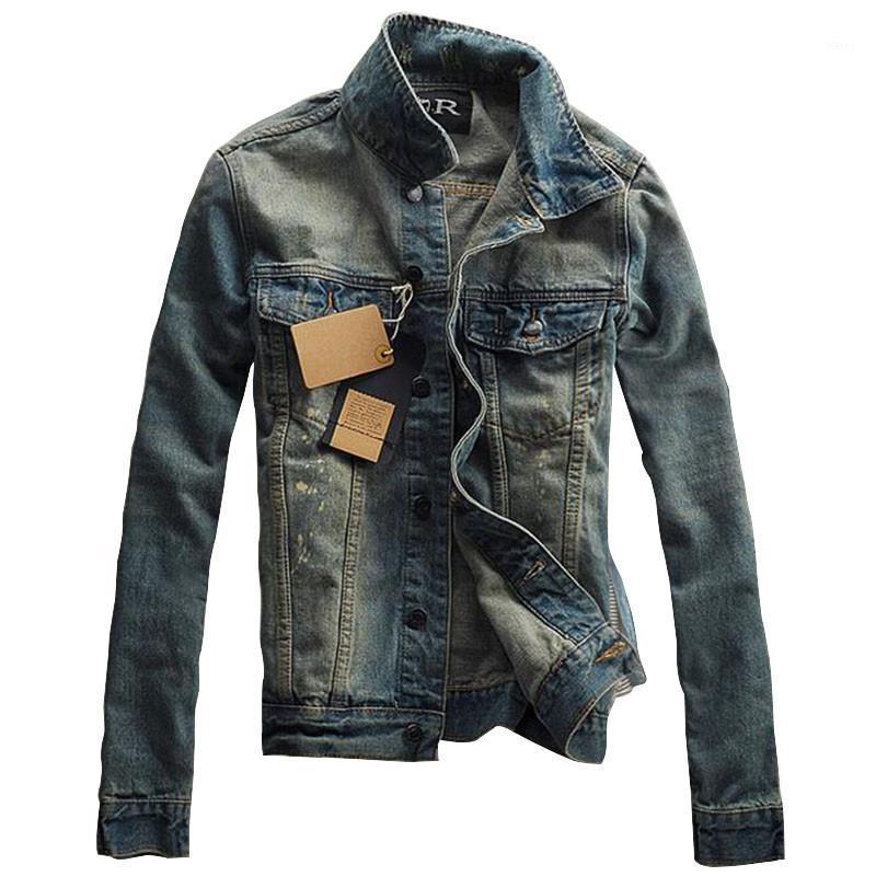 Erkek Ceketleri Toptan-McCKLE Marka Tasarımcısı Erkek Çizik Jean Moda Vintage Slim Fit Denim Ceket Down Yaka Casual Veste Homme