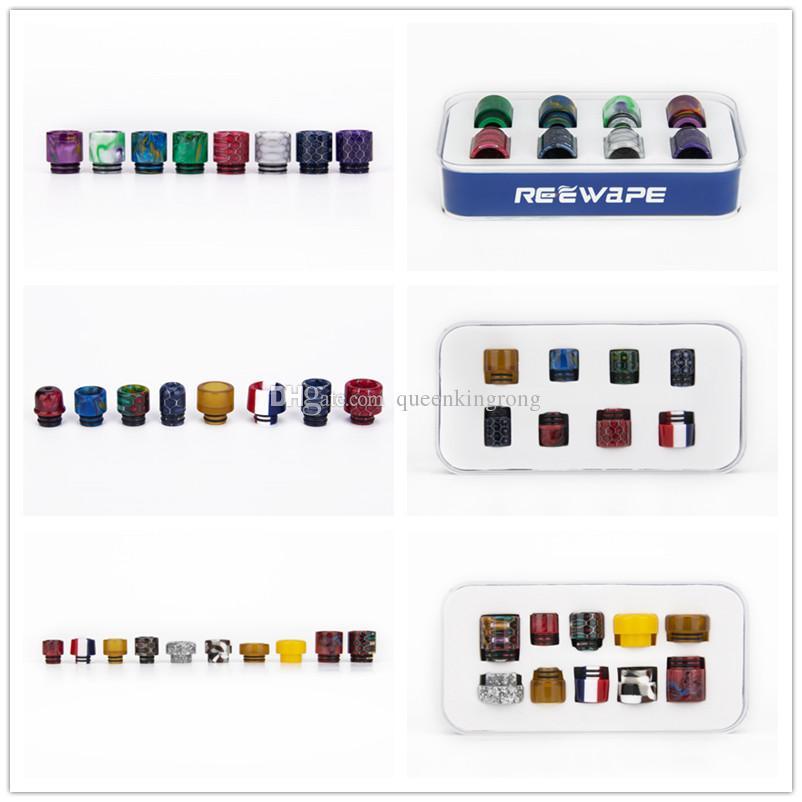 3 Styles Set Resin Metal Glass 510/810 Drip Tips 8pcs/10pcs/Kit ceramic dripper poker Tips Mouthpiece for e cigs cigarette Mod Atomizer Vape