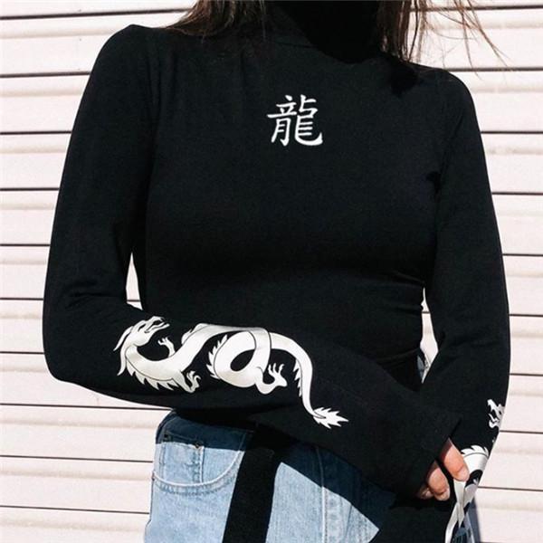 2020 Autunno Donne Amore drago T-shirt stampate riflettente Moda dolcevita a maniche lunghe T-shirt Slim Harajuku Femminile Notte abbigliamento;