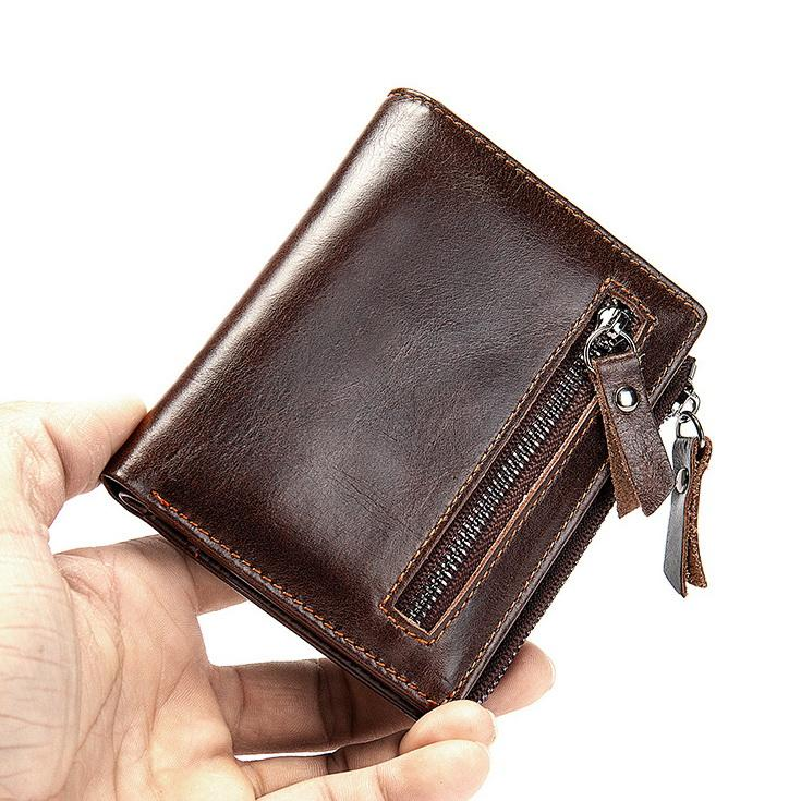 New RFID protected oil wax genuine cow leather mens fashion multi-funtion double zipper short designer wallets male coin zero card purses