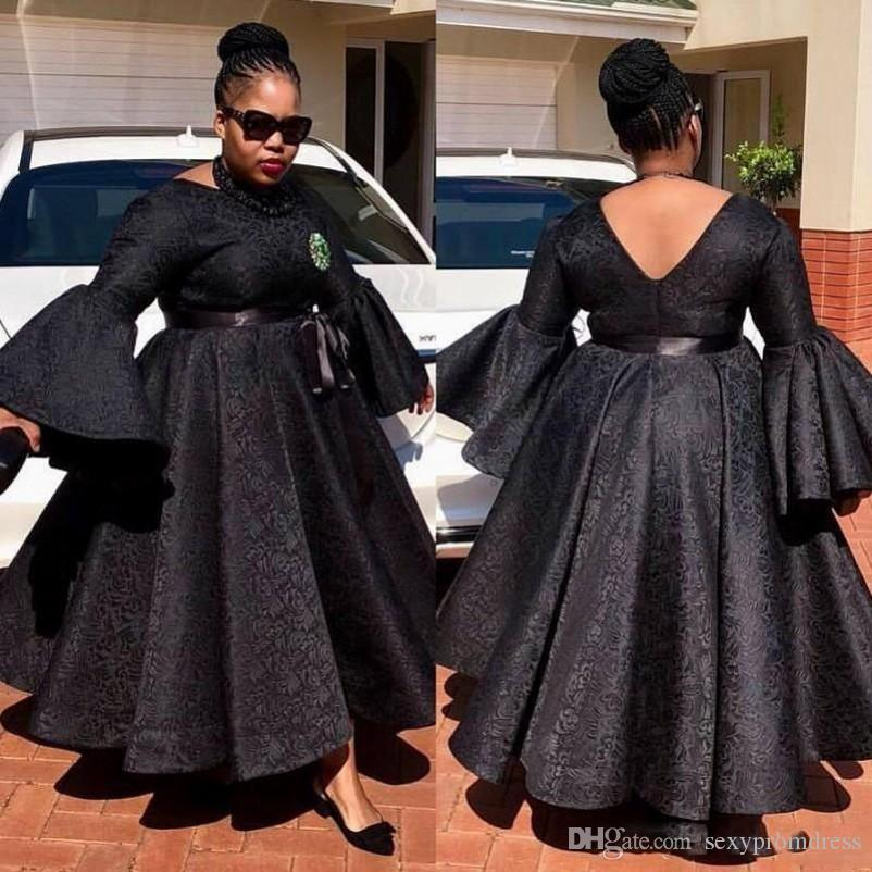 Black Full Lace Prom Dresses South African Trumpet Long Sleeves Evening  Gowns 2K19 Plus Size Floor Length Formal Party Dress Cheap One Shoulder ...