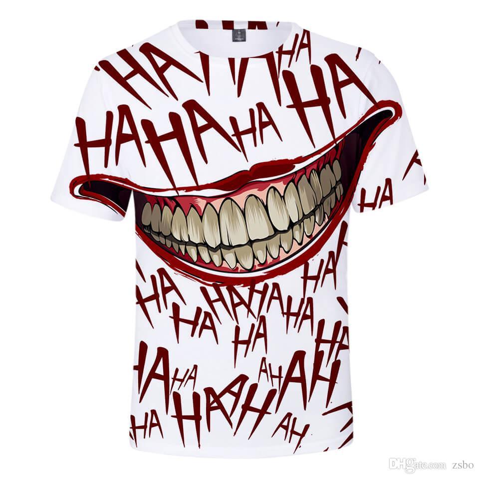 2018 봄과 여름 새로운 뜨거운 3D 스테레오 광대 남성 패션 반팔 티셔츠 스포츠 티셔츠 캐주얼
