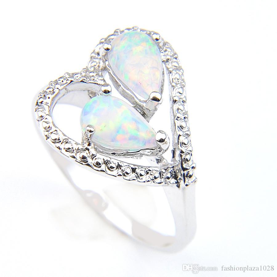 2019 nowe pierścienie w kształcie serca 5 sztuk / partia unikalne ogień białe opal kamień srebrny matka pierścień prezent biżuteria Australia Rosja pierścienie