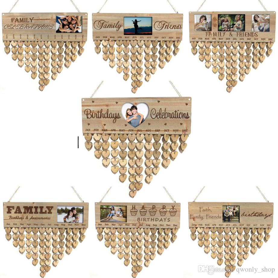 Wooden Family Friends Happy Birthday Calendar With Photo Frame Anniversary Reminder Board DIY Sign Special Dates Board Hanging Home Decor