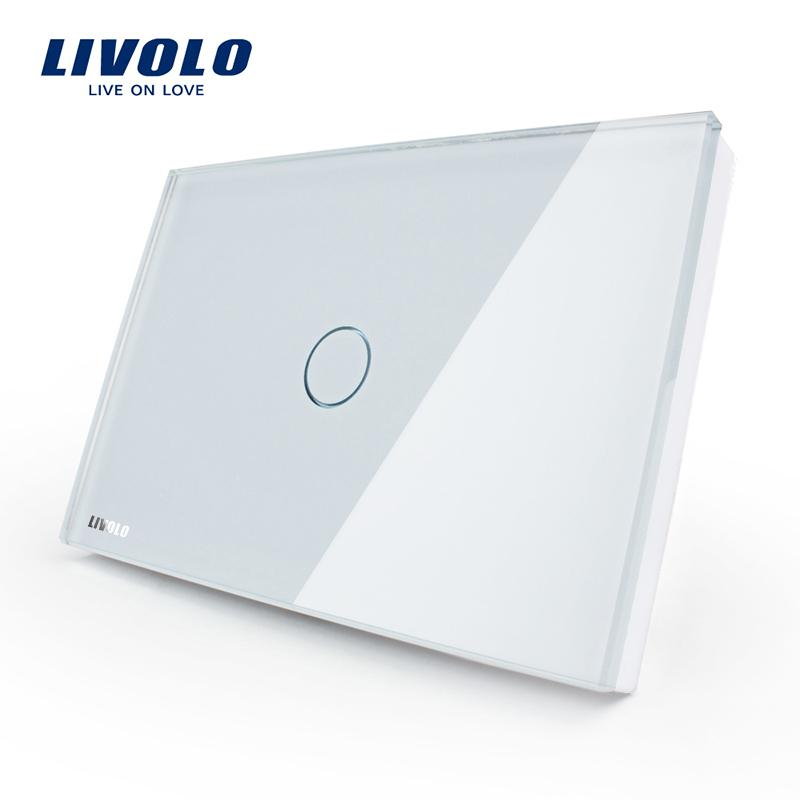 Livolo Touch Switch US standard White Crystal Glass Panel, AC110~250V, LED indicator, US Light Touch Screen Switch VL-C301-81 Y200407