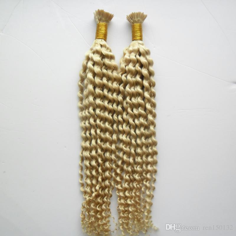 """Cabelo virgem peruano 10 """"-24 polegada kinky curly Pré Bonded Extensão Do Cabelo Eu Dedo Extensão Do Cabelo Humano 200 pcs / pac"""