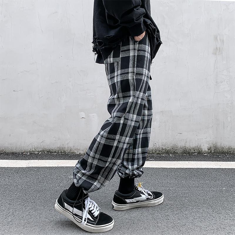 2020 bahar ve Yaz yeni erkek rahat Kore tarzı gevşek-Fit ekose kırpılmış pantolon
