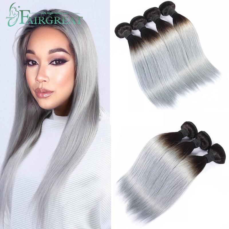 Ombre brasileña 1B gris recto natural paquetes pre-color de la armadura del pelo humano del pelo Paquetes Ombre extensiones pueden comprar 3/4 de las PC