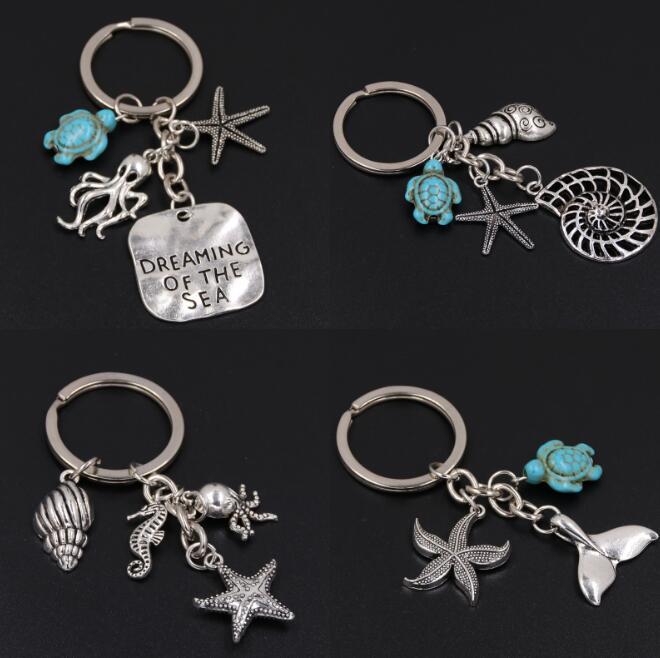 Conch Octopus Starfish Turquoise Sea Tortue Porte-clés Summer Beach Petits Animaux Porte-clés Vintage Argent Porte-clés Bijoux Cadeau Souvenir