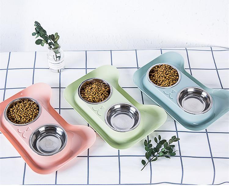 Double Dog Ciotole in acciaio inox Pet Ciotole senza fuoriuscita di dell'alimentatore dell'acqua dell'alimento No Spill per piccoli animali