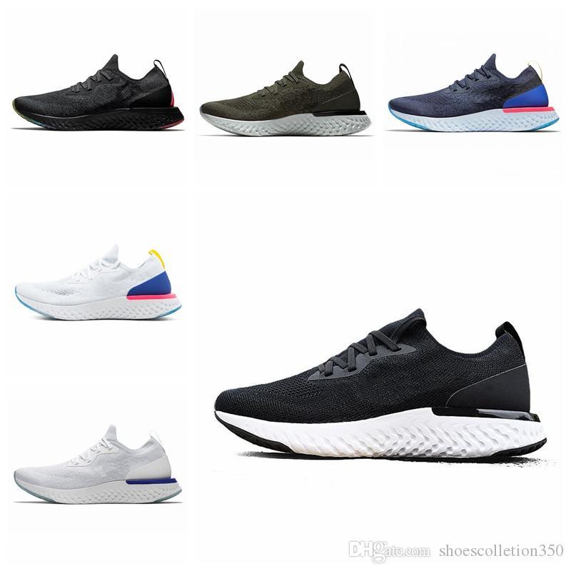 Nike Epic React Flyknit Fábrica Online Atacado unisex React Running Shoes Moda 2 Mens Formadores Esportivos Triplo Preto das Mulheres Escuras Sapatilhas Designer