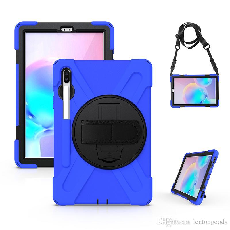 Naylon Omuz Kayışı ve Kickstand Samsung Galaxy Tab S6 10.5 2019 T860 T865 Tablet için birlikte Çocuklar Güvenli Silikon Hibrid Dayanıklı Kılıf