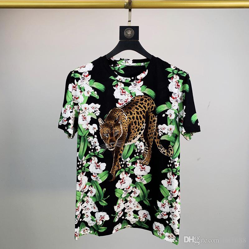 2021 T Mens Men Arrival Shirt New Fashion High Women Print Leopard Quality Flowers Designer Casual Short Sleeve Men Designer S-2XL Csaul