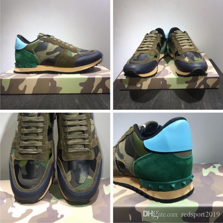 19 S Yeni Yüksek Kalite Ayakkabı Moda Damızlık Perçin Kamuflaj Sneakers Erkek Kadın Deri Flats Lüks Tasarımcı Eğitmenler Rahat ayakkabılar