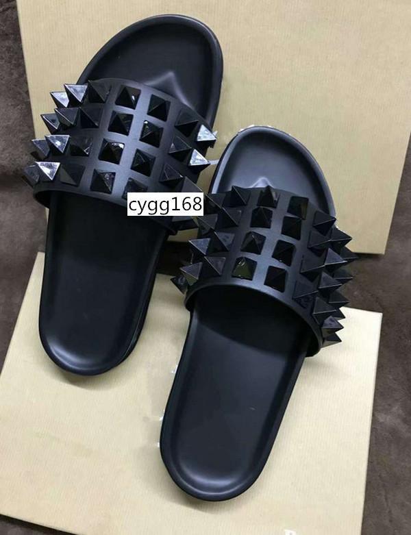 HOT SALE Donna Verzierte flache Schuhe Designer Weiden Nägel weichen Boden Gummi Pantoffeln Männer Flach slipperswith Boxs