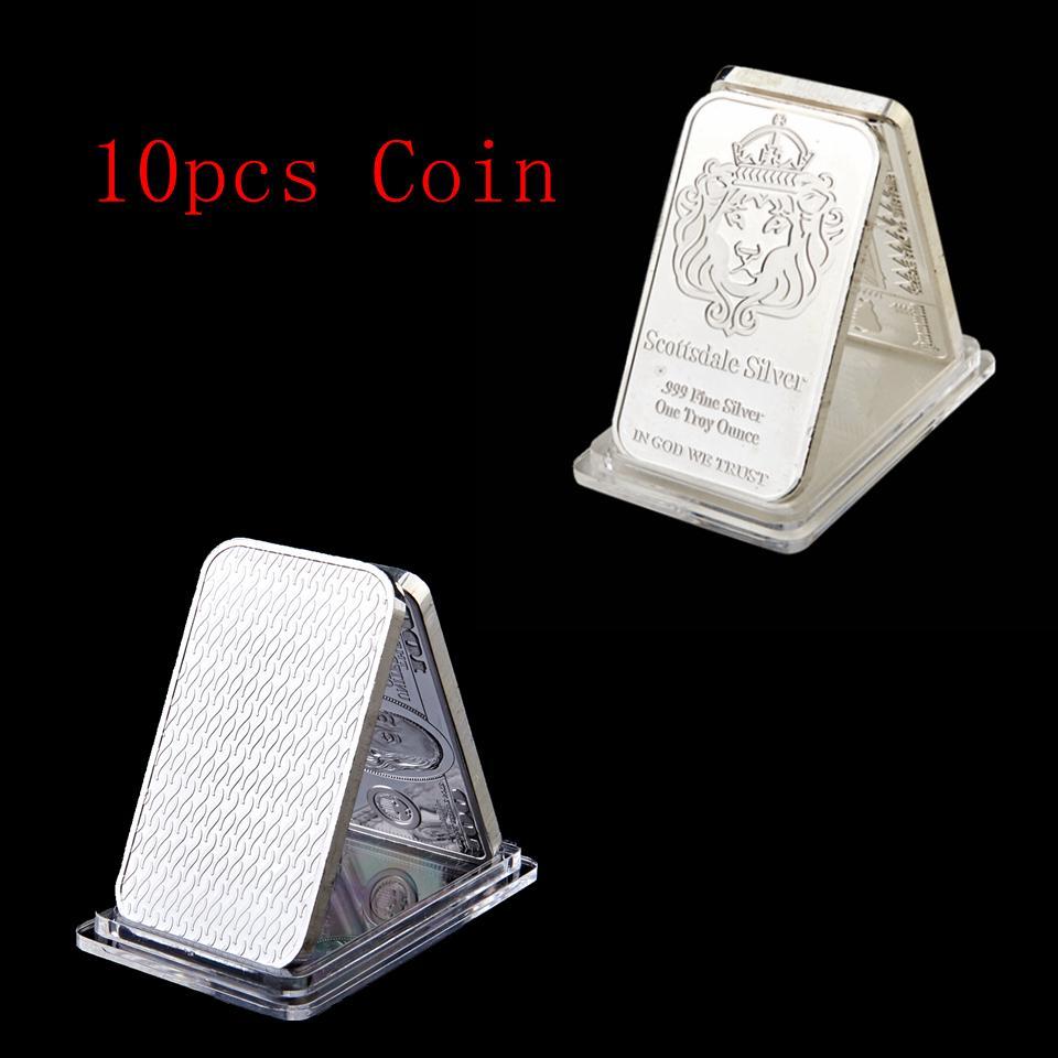 10Pcs Scottsdale Lion Head Bar Brass Core Silver Plated Bullion 1 OZ Ingot 50 Mm X 28 Mm Home Decoration Collectible Coin