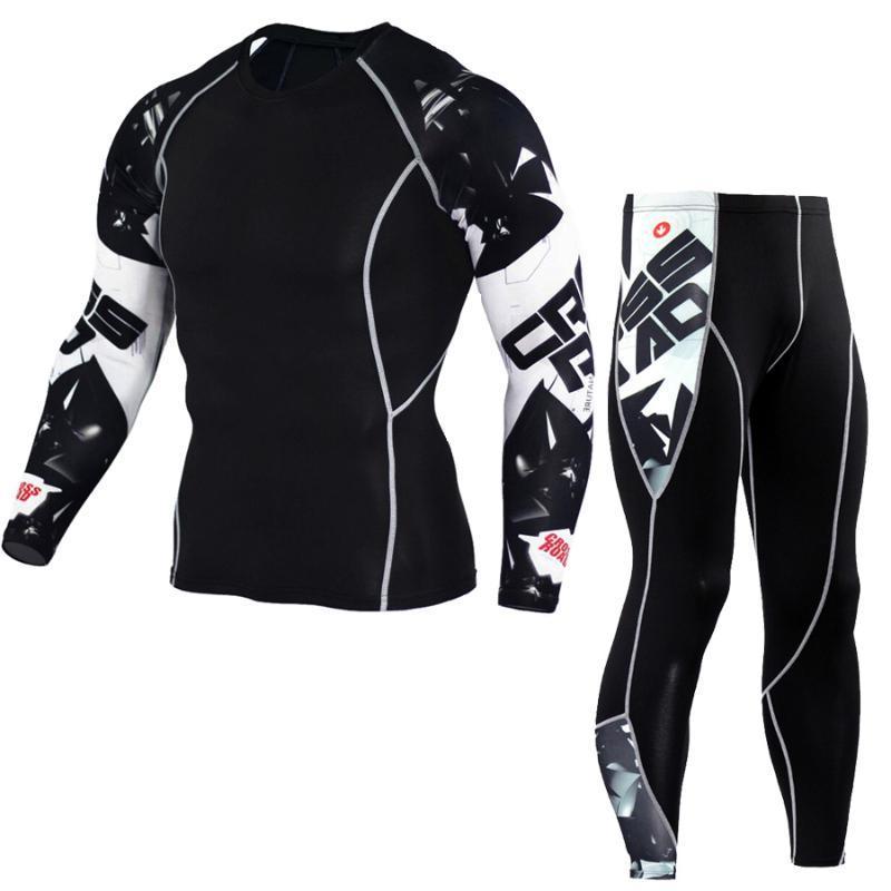 MMA Lycra de los hombres de la aptitud multifuncionales pantalones Camiseta establece pantalones pantalones de hombre impresión 3D kit rashgard