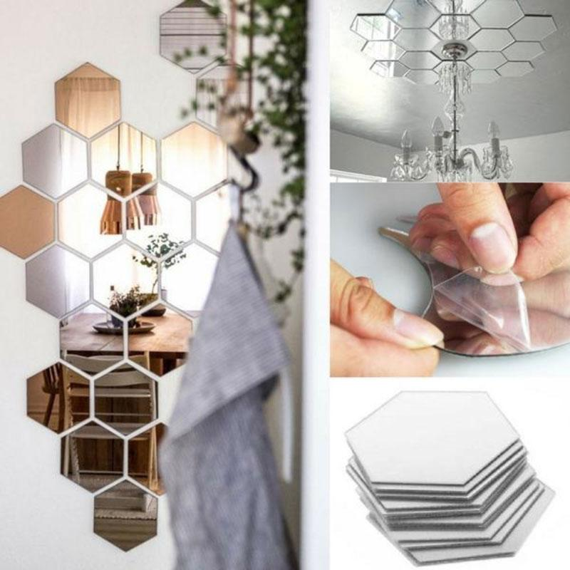3D Hexagon Acrylic Mirror Wall Stickers Removable DIY Art Wall Decor Stickers Living Room Mirrored Sticker Gold Home Decor