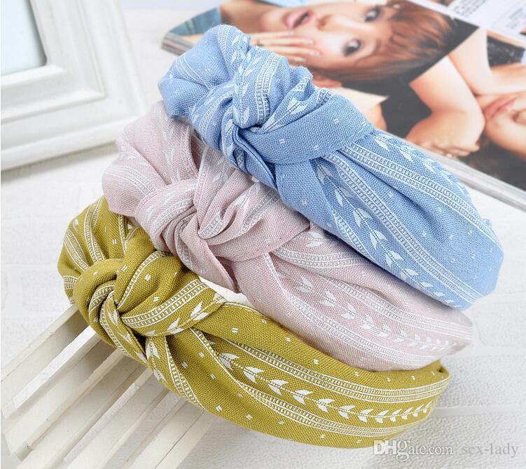 2019 Yeni Kadın Ilmek Geniş Hairband Çapraz Düğümlü Kafa bandı Kızlar Moda Kumaş Kafa Katı Kafa Hoop Lady Saç Aksesuarları 16 renkler