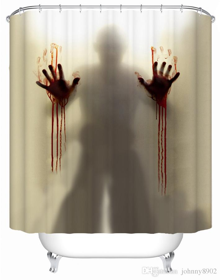 Mysterious Scary And Funny Man Silhouette Shadow Polyester Fabric Waterproof Shower Curtain 60W X 72H