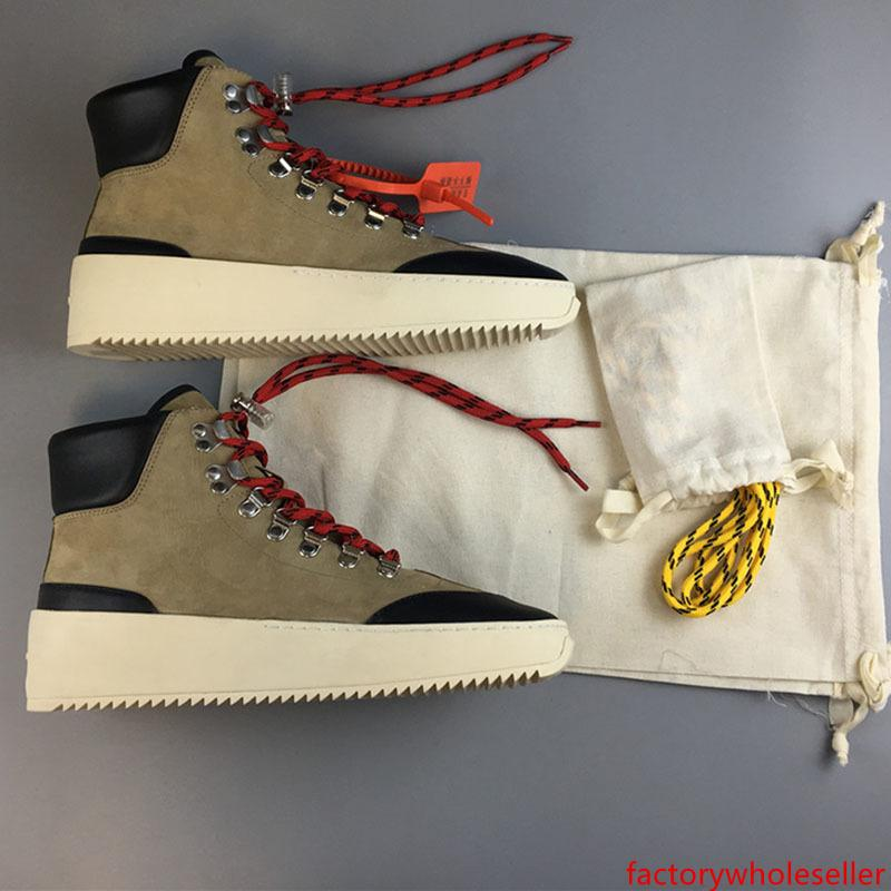 2019 Fear Of God Designer Mens Fall Winter Boots Fashion Short Bow Boots Beige Ankle Knee Bow Top Suede Climbing Boots