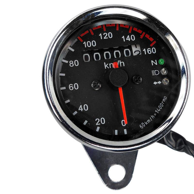 Freeshipping 자동차 스타일링 범용 오토바이 듀얼 주행 속도계 KMH 속도계 게이지 LED 백라이트 신호 빠른 배송 12 시간 도매