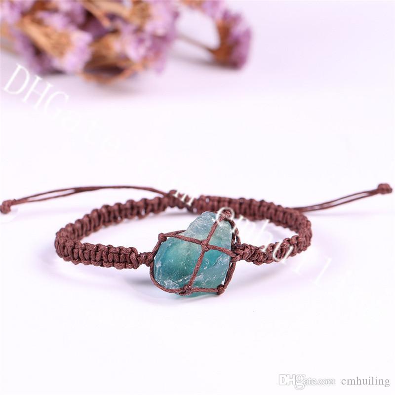 10Pcs Random Size Freeform Natural Raw Fluorite Crystal Macrame Bracelet Handmade Blue Green Fluorite Adjustable Bracelet Jewelry Retro Boho