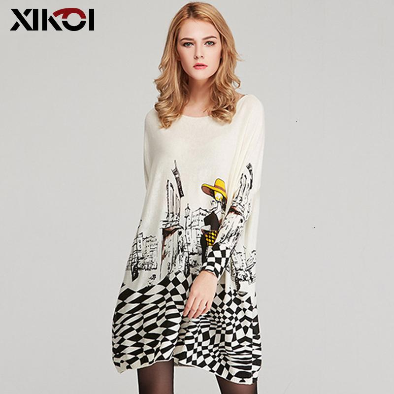 XIKOI Free Size Autumn Women Long Sweaters Slash Neck Batwing Sleeve New Printed Pullovers Female Loose Casual Knitted SweatersMX190927