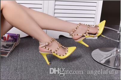 15 cores opcionais senhoras de salto alto de alta qualidade couro real de couro de patente lustroso sandálias Europeia trabalhadores de escritório formal sapatos femininos