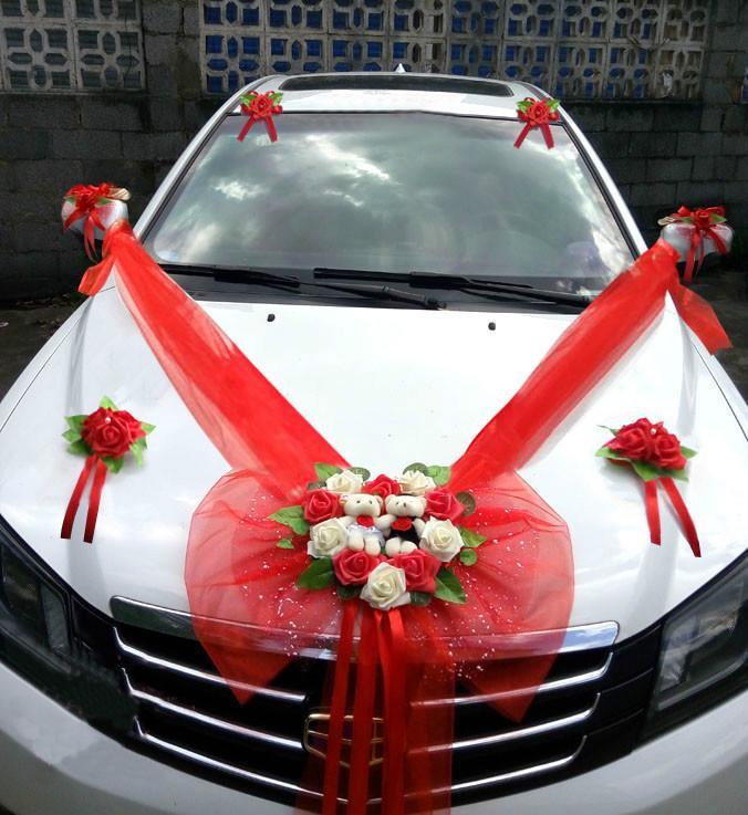 Simple Style Wedding Car Decorative Flowers Heart-shaped Wedding Flowers Decoration Wedding Wreaths Decorative Flowers C18112601