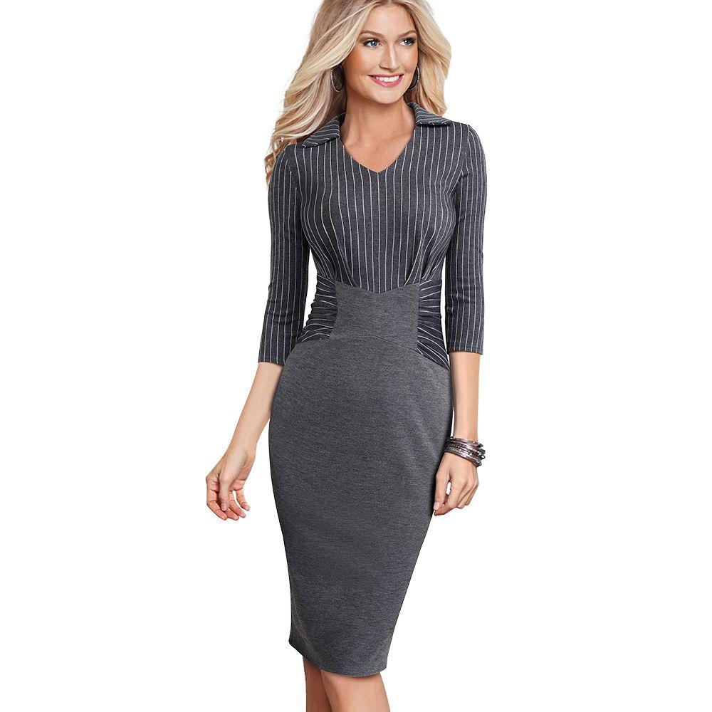Sonbahar Kış Şerit Rahat Iş Giysisi Kalem Elbise Klasik Donatılmış Ince Kadın Iş Ofis Elbise EB479 T5190614