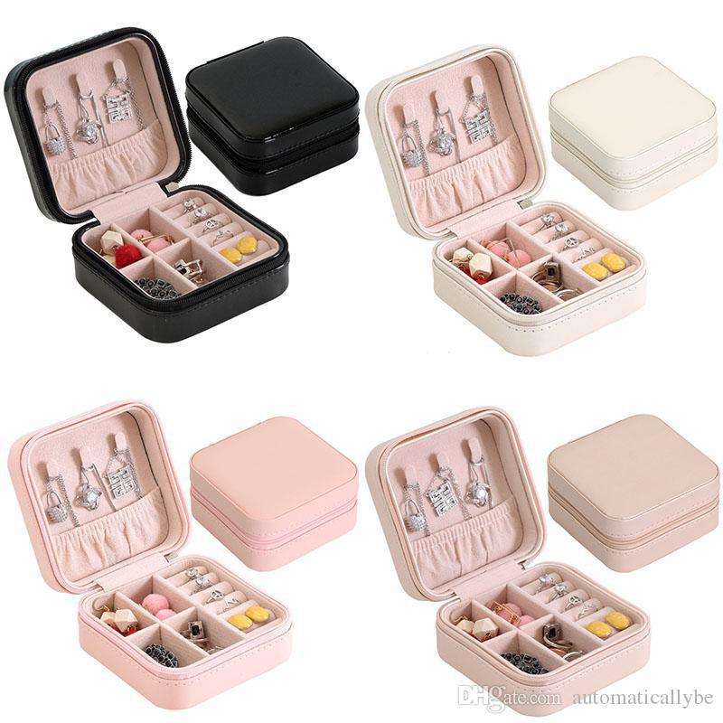 PU Single Layer Lagerung Schmuckschatulle Ohrringe Ringe Halskette Aufbewahrungsbox Kreative beweglicher Spielraum Multifunktions Cases DHL