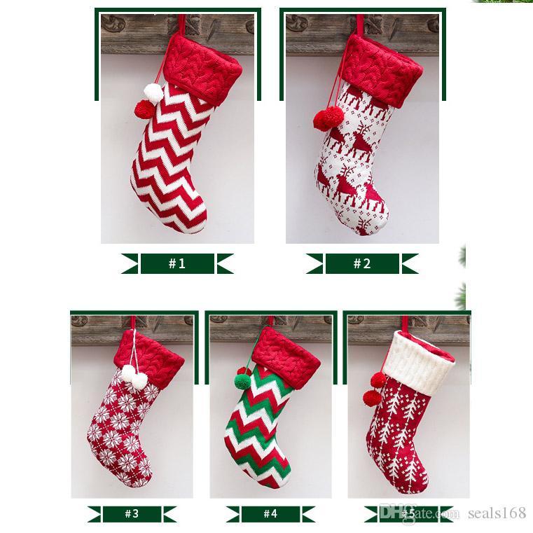 Christams Arbre rayé Stocking Hanging Pendentif ornement chaussettes tricotées cadeau Candy Bag Pour les enfants de fête d'enfants Décorations de Noël HH9-2499