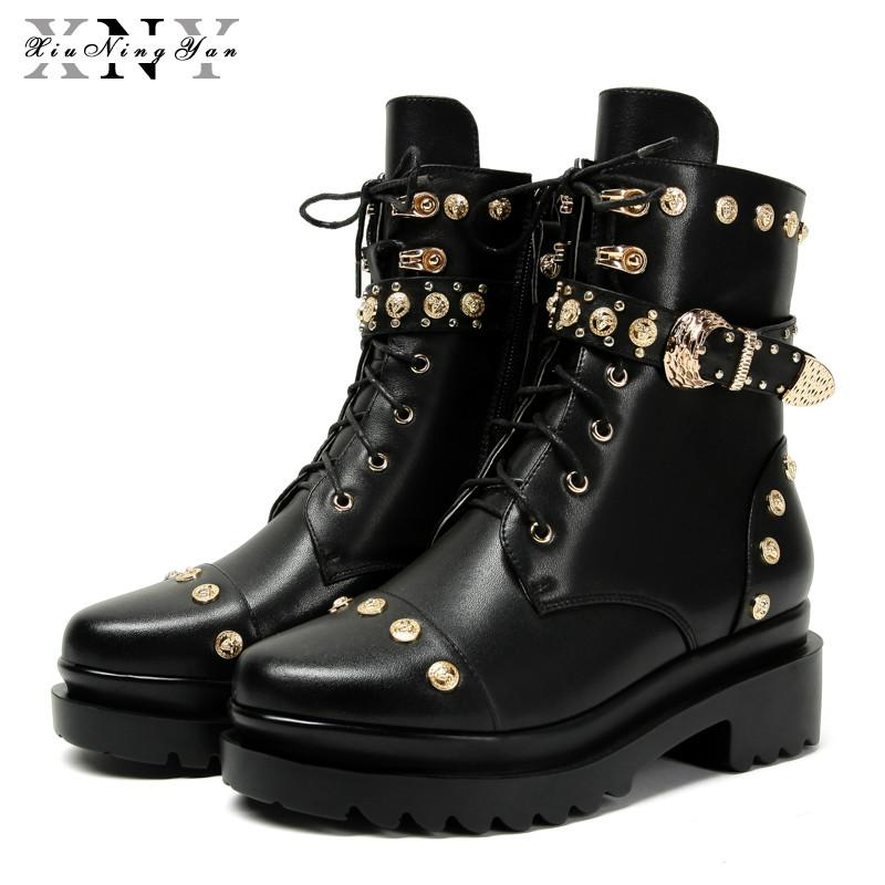 Fashion Punk Boots Women Shoes Genuine Leather Motorcycle Boots Europe America Warm Square Toe Mid-calf Autumn Winter Shoes 2019