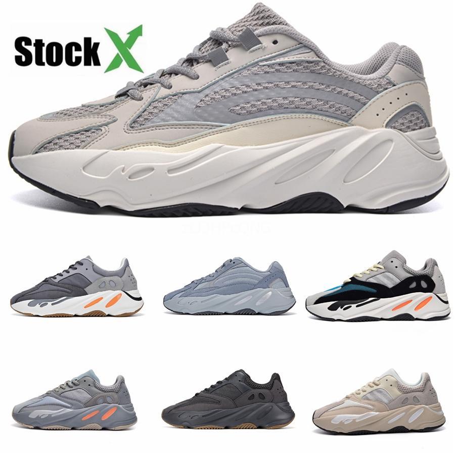 Azael Alvah 700 Teal Blu Statico corridore dell'onda 500 Bone Salt Scarpe da corsa riflettente nero Glow In Dark Kanye West Sneakers Designer St # DSK868