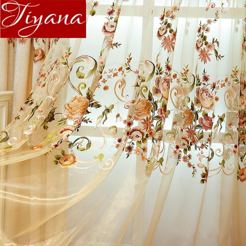 Finestra di lusso Europa ciniglia ricamata floreale cortina per soggiorno Camera Tulle trattamento tende oscuranti Tessuti X417 # 30 CJ191217