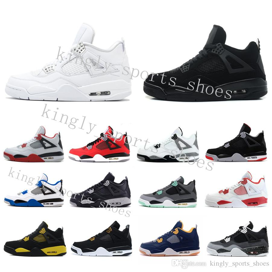 Stock X New Black Cat 4 4s Bred 4 4s IV Cactus Jack Mens Basketball Shoes White Cement Denim Blue Men Women Sports Designer Sneakers five